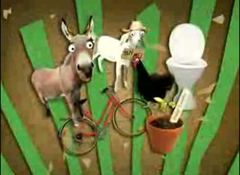 Donkey, goat, chicken, bicycle, toilet in Oxfam TV ad