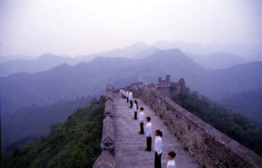 Qantas Choir boys and girls on Wall of China