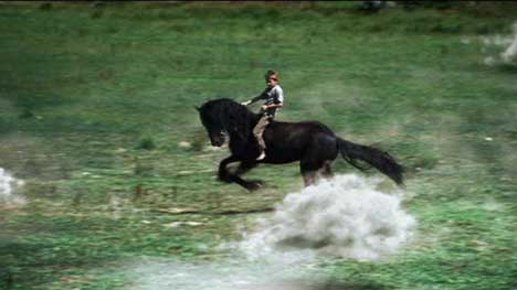Boy on horse rides through sheep clouds for Land Rover TV ad