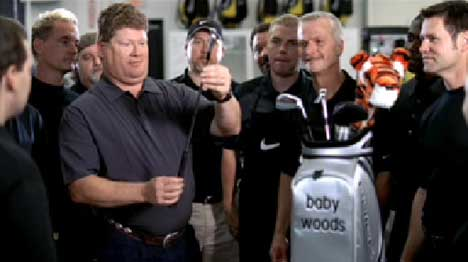 Nike Golf manufacturers inspect Baby Woods set of golf clubs