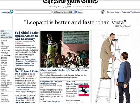 Leopard better and faster than Vista ad on NY Times web site
