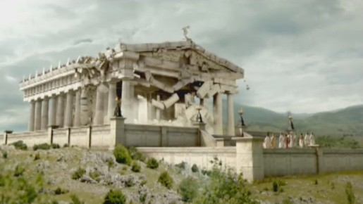 Parthenon crumbles in GE Wind TV commercial