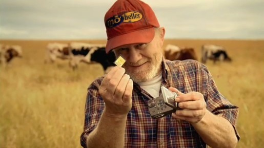 Farmer with camcorder SD card in Panasonic television commercial