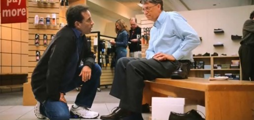 Bill Gates and Jerry Seinfeld in shoe shop