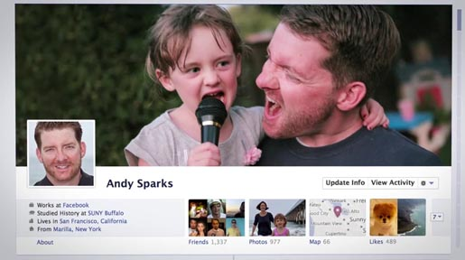 Facebook Timeline Ad with Andy Sparks profile