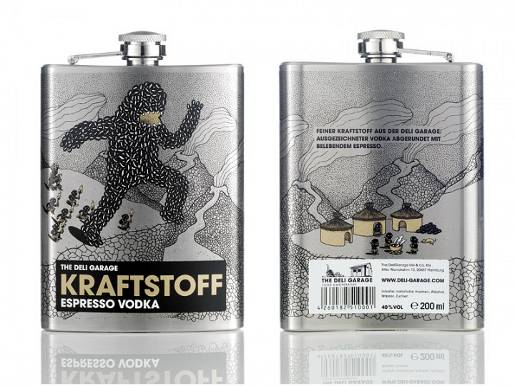 Kraftstoff Espresso Vodka flask design