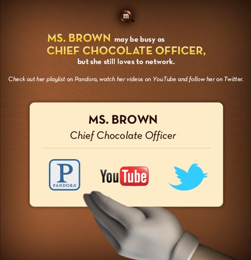 M&Ms Ms Brown Business card on Facebook