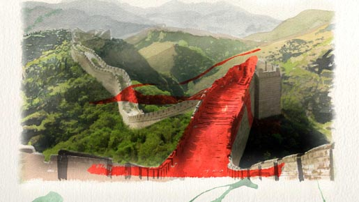 Beyonce Great Wall of China Water Colours in 4 Around the World video