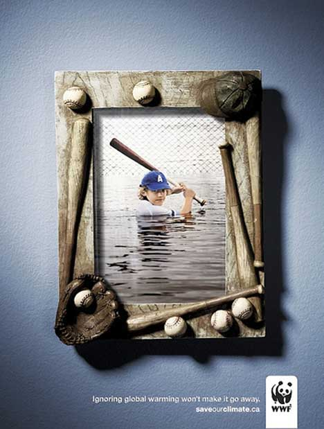 Baseball print ad for WWF Climate Change campaign
