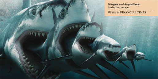 Sharks show mergers and aquisitions in Financial Times print ad