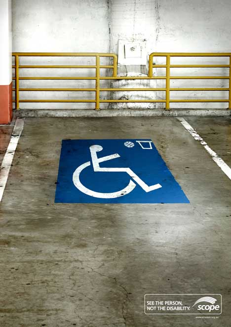 Disability sign with basketball