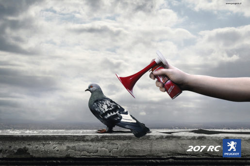 Peugeot print advertisement featuring accelerated pigeon