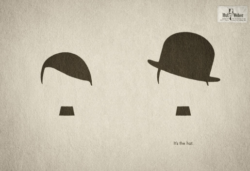 Hitler and Chaplin in Hut Weber print advertisement