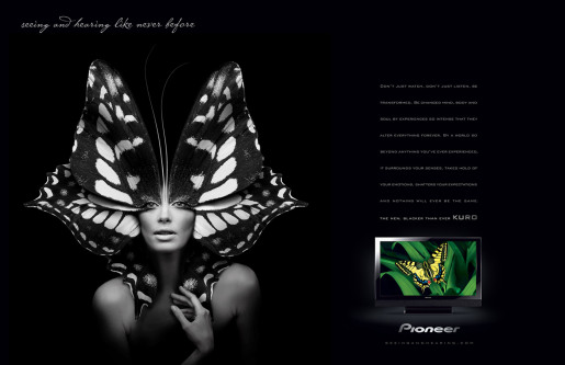 Pioneer Kuro Butterfly woman magazine spread advertisement