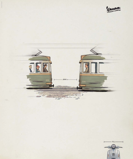 Vespa Trams print advertisement