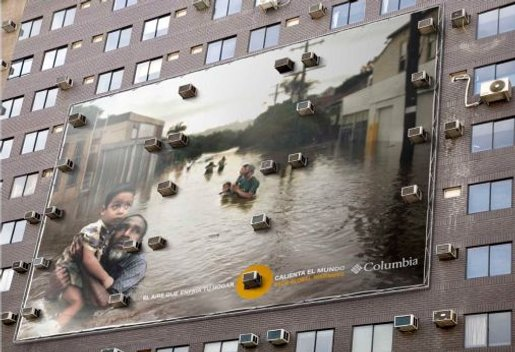 Air conditioners on wall in Columbia outdoor campaign