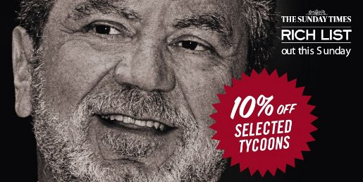 Sunday Times Rich List 2009 Tycoons for Sale