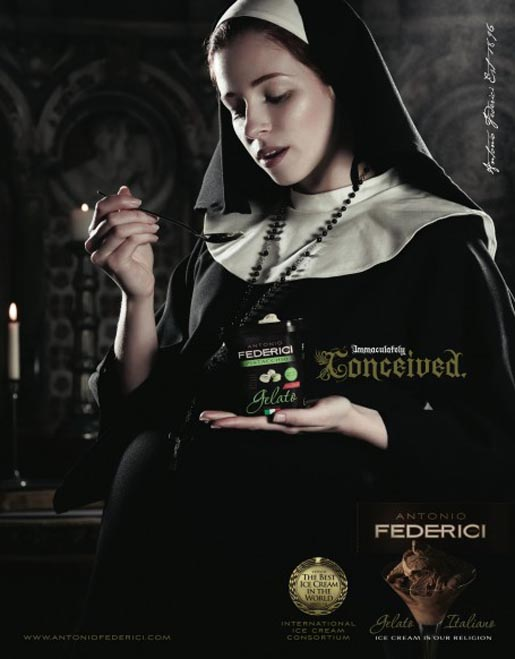 Nun eats ice cream in Antonio Federici Immaculately Conceived ad