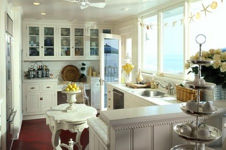 small white kitchen free standing island
