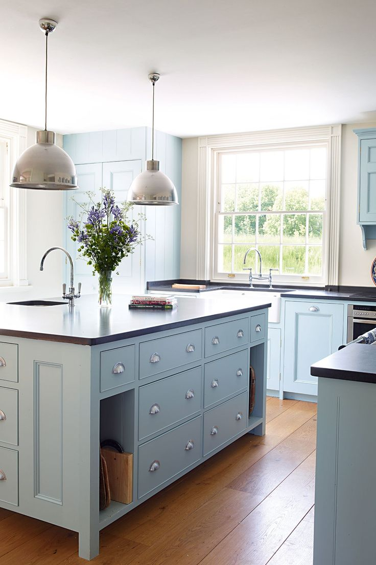colored kitchen cabinets blue cabinets kitchen Powder Blue Colored Kitchen Cabinets A round up of inspiration for colored kitchen cabinets