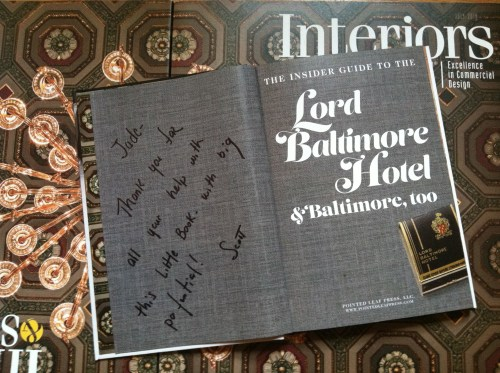 Lord Baltimore Hotel book, Scott Sanders