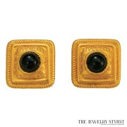 Chic 1980s Givenchy Square Button Earrings