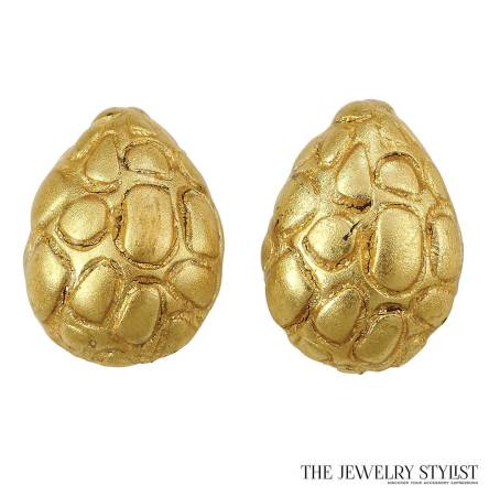 Large Gold-Tone Tortoise Shell Shaped Earrings