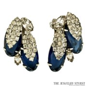 Unsigned Blue and Crystal Rhinestone Clip Earrings