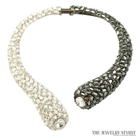 Kenneth J. Lane Crystal Rhinestone Spring Hinge Collar Necklace (KJL)