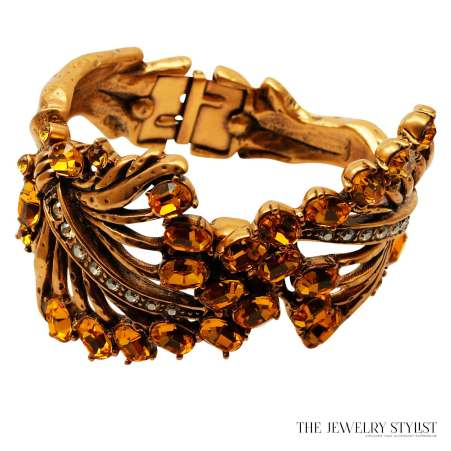 Oscar de la Renta Sculptural Stylistic Leaf Cuff With Swarovski Crystals