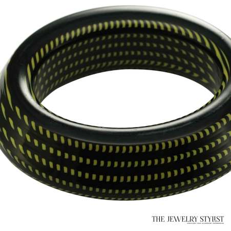 Chunky Italian Black & Green Hard Resin Bangle
