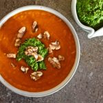 Roast Everything Soup with Walnut and Green Herb Pesto