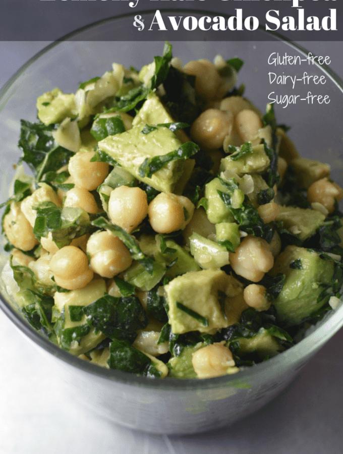15-Minute, gluten-free, dairy-free, kale, avocado, chickpea salad. Super nutritious summer salad. www.thekitchengirl.com
