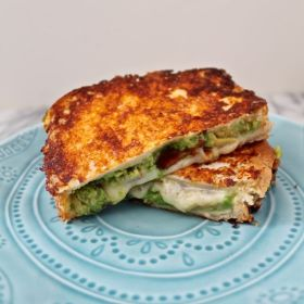 Cheddar, Avocado, Bacon Grilled Cheese with a Cheesy Crust
