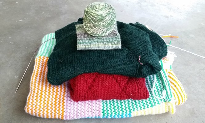 Pile of Hand knit projects