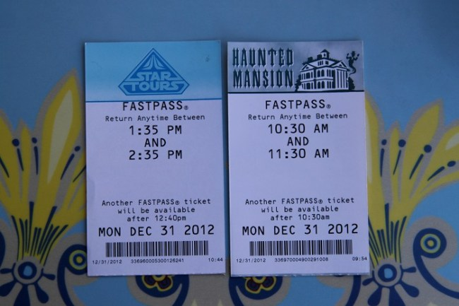 Disneyland FastPasses on New Year's Eve