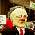 Protestors make an effigy of Quebec Premier Jean Charest.
