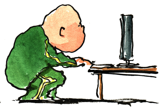 Image of person on computer by Frits Ahlefeldt-Laurvig