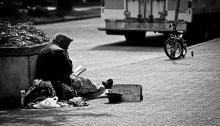 Homeless man begging on the streets of Vancouver. | Photo by Mohammadali F.