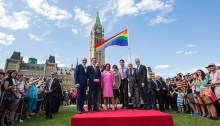Prime Minister Justin Trudeau raise the rainbow flag over Parliament. | Photo courtesy of the Office of the Prime Minister of Canada
