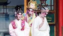 """Rosa Cheng (left), Du Quan (middle), Wai Ling Ho (right) during """"The Wedding,"""" the second act of the opera."""