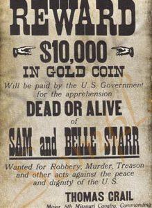 Reward for Sam and Belle Starr Poster