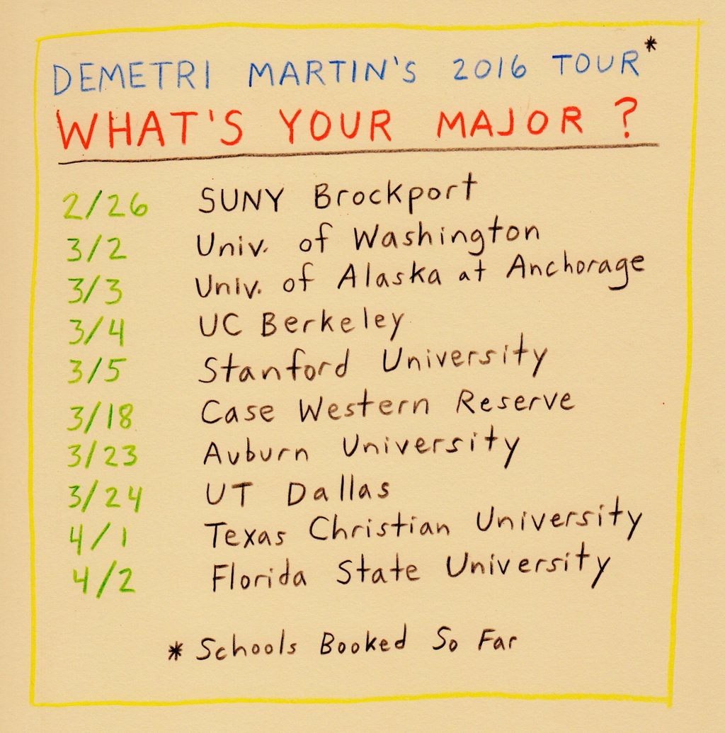 "Demetri Martin announces 2016 ""What's Your Major?"" college tour"
