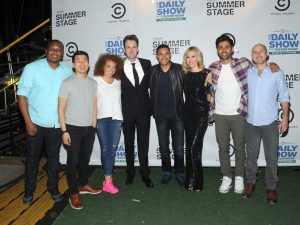 NEW YORK, NY - JUNE 26:(L-R)  Roy Wood Jr., Ronny Chieng, Michelle Wolf, Jordan Klepper; Trevor Noah, Desi Lydic; Hasan Minhaj, Adam Lowitt attend The Daily Show with Trevor Noah Stand-Up in the Park in Central Park on June 26, 2016 in New York City.  (Photo by Brad Barket/Getty Images for Comedy Central)