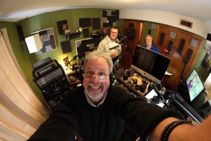 Kevin Murphy, Mike Nelson and Bill Corbett in the recording studio.  (Photo Credit: RiffTrax)