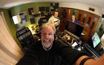 Kevin Murphy, Mike Nelson and Bill Corbett in the recording studio.  (Photo Credit: RiffTrax)