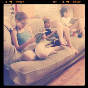 Three girls, three books and a couch