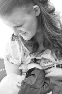 mom and baby breastfeeding