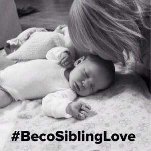 #BecoSiblingLove b:w newborn kiss