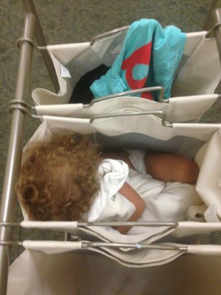 sleeping in laundry hamper trio